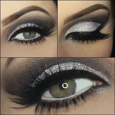 black and silver smokey eye - Google Search