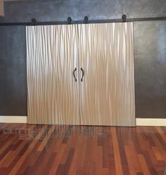 wavy wall panels pressed in Omnova's Shimmer thermofoil 3d Wall Panels, Makeover, Bedroom Makeover, Curtains, Paneling, Interior Design, Home Decor