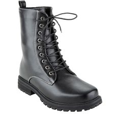 Hot Topic Black Combat Boots ($30) ❤ liked on Polyvore featuring shoes, boots, laced up boots, combat booties, military lace up boots, lace up combat boots and black army boots