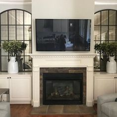 room designs with fireplace Amiel Arch Aged Brown Antiqued Mirror Tv Over Fireplace, Fireplace Built Ins, Home Fireplace, Fireplace Remodel, Living Room With Fireplace, Fireplace Design, My Living Room, Living Room Decor, Fireplace Ideas