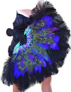 Burlesque Showgirl Jeweled PEACOCK & Ostrich FEATHER FAN