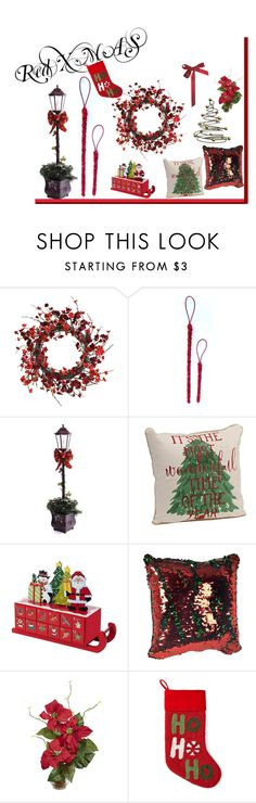 """""""Red Xmas"""" by garadina on Polyvore featuring interior, interiors, interior design, home, home decor, interior decorating, Nearly Natural, North Pole Trading Co. and Christmas"""
