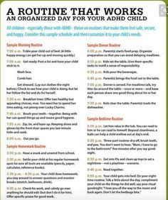 A sample schedule for ADHD children. Structure and routines are so beneficial to helping children with ADHD.