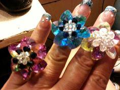 Crystal Flower Rings I made 7/2013