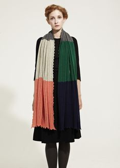 ".I love the idea of a black ""uniform"" and wearing seasonal colors on blocked scarf"