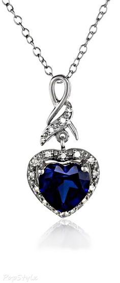 Sterling Silver Sapphire Diamond Pendant Necklace