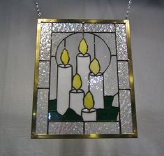 Panel ventana velas vidrio ventana panel vitral colgante decoración Navidad