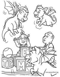 a beautiful coloring page with the children of shrek and fiona playing with the children of