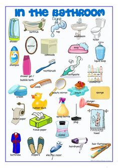 Bathroom Picture Dictionary worksheet - Free ESL printable worksheets made by teachers Learning English For Kids, English Lessons For Kids, English Worksheets For Kids, Kids English, English Language Learning, English Study, Teaching English, English Vocabulary List, English Writing Skills