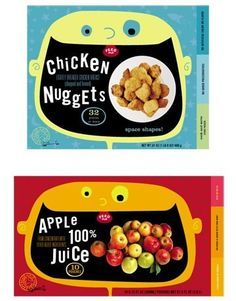 Offline Design Inspiration, Part Food Packaging_Kid's Market:The brightly  colored and illustrated packaging is obviously aimed at the kid's market.