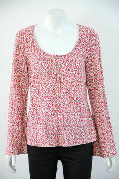BODEN  Women s 100% Linen Floral Print Long Sleeve Top / Blouse {Size 14}