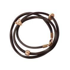 Brown Leather and Rose Gold Bracelet with Jaguar Pattern – Chavin