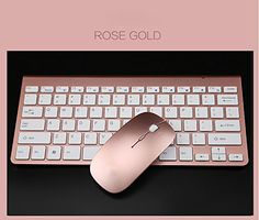 Wireless Rose Gold Mouse & Keyboard for the office. Love these.