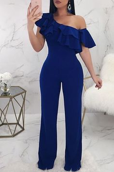 Lovely Casual Dew Shoulder Blue Knitting One-piece Jumpsuit, Jumpsuit Dressy, Lace Jumpsuit, Jumpsuit Outfit, Dress Outfits, Fashion Outfits, Classy Outfits, Stylish Outfits, Designer Jumpsuits, African Fashion Dresses