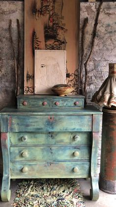 This vintage empire dresser was hand painted with clay paint using DIY Debis Design Diary Paint using several layers for a Boho Style. Designed by Dare To Be Vintage Diy Furniture Videos, Diy Furniture Hacks, Chalk Paint Furniture, Hand Painted Furniture, Distressed Furniture, Funky Furniture, Furniture Makeover, Vintage Furniture, Turquoise Painted Furniture