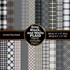 Plaid Digital Paper Pack 20 Black White Grey Gray Scrapbook Paper DOWNLOAD Printable Wrapping Graphic Tartan Pattern 12x12 JPG PDF