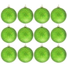 Green & Gold Glitter Ball Ornaments