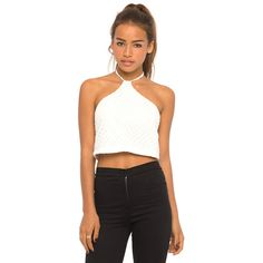 Motel Tye Crop Top in Nanna Knit White ($33) ❤ liked on Polyvore featuring tops, nanna knit white, knit crop top, white top, tie halter top, halter neck top and crop top