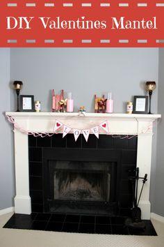 DIY Valentine's Fireplace Mantel - Mom vs the Boys