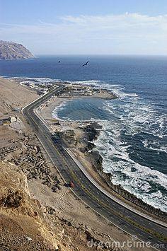 Coastal road towards the beaches of Arica
