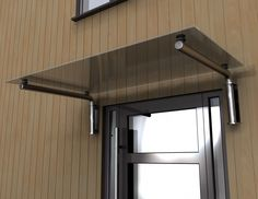 Glass door canopy with tubular stainless steel brackets. Hand made by North Yorkshire craftsmen Pvc Canopy, Kids Canopy, Awning Canopy, Backyard Canopy, Canopy Outdoor, Beach Canopy, Garden Canopy, Fabric Canopy, Canopies