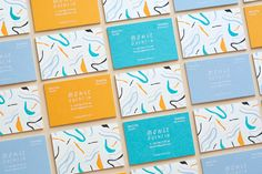 """Studio Business Cards by Don't Try Studio """"Set of colorful business cards. White foil / 5 color letterpress on triplex colorplan paper."""" Don't Try Studio is Quentin Monge. Art director based in Paris, France, focused on graphic design, branding,. Blog Design Inspiration, Business Card Design Inspiration, Letterpress Business Cards, Letterpress Printing, Elegant Business Cards, Art Graphique, Graphic Design Branding, Creative Business, Illustration"""