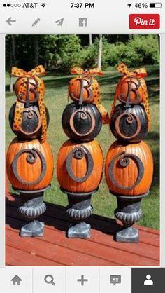 Halloween decor stacked pumpkins