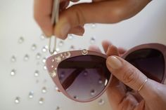 DIY Inspiration  ::: Add clear asymmetrically placed rhinestones to a Cheap pair of vintage shades ~~~ ❥