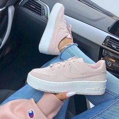 VISIT FOR MORE The new Nike Air Force 1 Sage Low Beige Trainers worn by girl with Champion Sweater and nails. Stylish shoes from Nike. The post Nike Air Force 1 Sage Low Beige appeared first on Outfits. Nike Air Shoes, Nike Shoes Outfits, Nike Sneakers, Sneakers Fashion, Fashion Shoes, Casual Sneakers, Nike Fashion, Casual Shoes, Pink Nike Shoes