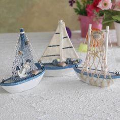 3Pcs/lot Mediterranean Style Wooden MiNi Net Ship Sailing Ship furnishing articles handmade Nautical Home Decor wood craft