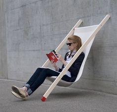 I love this instant chair concept but can't think of when I'd ever use it.  It's not like it's really portable and it's useless without a wall.