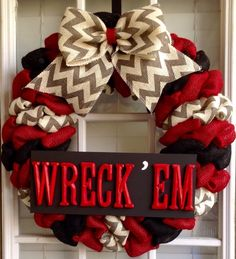 A personal favorite from my Etsy shop https://www.etsy.com/listing/236527902/burlap-wreath-texas-tech-summer-wreaths