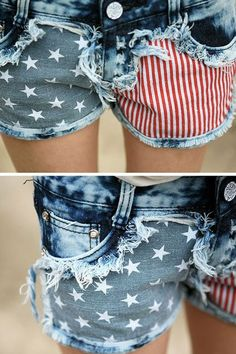 Stars And Stripes Printing Hot Shorts