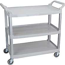 """Staples® Plastic Utility Cart, 3-shelf, Gray    View Full Details  Staples® Plastic Utility Cart, 3-shelf, Gray  Item: 810832    Model: 17861    Staples Plastic Utility Cart, 3-shelf, Gray5.0stars ( 2 reviews)  Sturdy Gray plastic construction  Weight Capacity: 200 lbs. per shelf, evenly distributed  Dimensions: 37 _""""H x 40 1/8""""W x 20""""D  FREE SHIPPING  In Stock Online  Expected Delivery: 1 Business Day  FREE Shipping to store  Online Only    $169.99"""