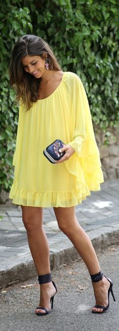 Street style vaporous yellow dress and heels | Just a Pretty Style