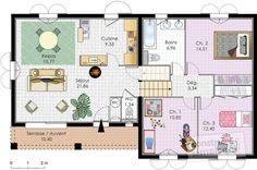 Plan habillé Rdc - maison - Villa à énergie positive