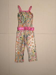 Fun colours - silver with yellow, blue, pink, orange flowers and pink belt that is attached. Ends mid-calf. Size - Worn by an average 8 year old for an acro group dance. Acro Dance, Tap Costumes, Pink Belt, 70s Fashion, Stretchy Material, Brand New, Yellow, Stuff To Buy, Collection