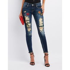 Charlotte Russe Destroyed Patches Skinny Jeans ($24) ❤ liked on Polyvore featuring jeans, dark wash deni, distressed jeans, dark skinny jeans, skinny jeans, ripped jeans and patch jeans