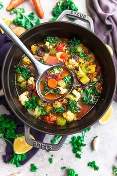 Vegetable Detox Soup - perfect for nourishing your body & getting back on a healthy track. Best of all, this one pot recipe is loaded with flavor.