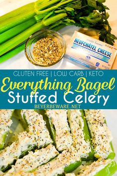 Everything Bagel Stuffed Celery is a low-carb appetizer that combines everything bagel seasoning with cream cheese and then stuffed in celery to make a simple 3-ingredient keto snack. Celery Snacks, Celery Recipes, Low Carb Appetizers, Appetizer Recipes, Delicious Appetizers, Delicious Recipes, Snack Recipes, Dinner Recipes, Low Carb Breakfast