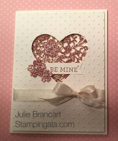 Stampin Up's Bloom' Heart Thinlits Dies and Bloomin' Love Stamp Set, Valentine… Bloomin Love Stampin Up, Valentine Love Cards, Valentine Ideas, Origami, Stampin Up Karten, Love Stamps, Stamping Up Cards, Heart Cards, Tampons