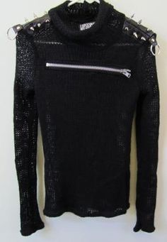 Lip Service black sweater with metal spikes, S. Goth / Punk