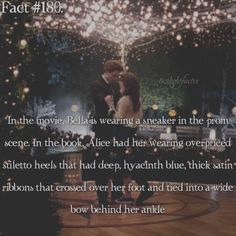 Yes! That drove me nuts in the movie. Plus I was disappointed Rosalie/Emmett and Alice/Jasper weren't at the prom like in the book. Bella wore a deep blue dress (Edward's favorite color is blue), Alice wore a black dress and Rosalie wore a red dress.