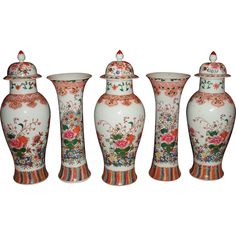 Multi-Color Floral & Fauna Chinese Garniture | 1stdibs.com