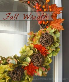 Simple Fall Wreath using common items found at dollar store and Goodwill! **Love the grapevine balls on the wreath!!