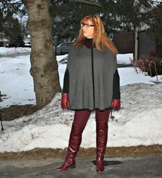 Forever 21 cape and Leggings, Shoe Dazzle Boots in Marsala