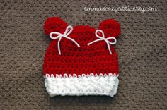 Newborn girl Christmas hat, Baby girl kitty hat, baby girl beanie, photography prop, red white kitty on Etsy, $24.00