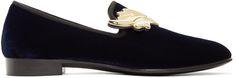 GIUSEPPE ZANOTTI Navy Suede Kevin Loafers. #giuseppezanotti #shoes #flats