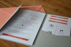 Einladung Pocketfolder in verschiedenen Farben #Pocketfolder #Umschlag #Einladung #Hochzeit #Koralle #Coral