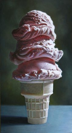 "Mary Ellen Johnson, Big Ice Cream, 2010, oil on panel, 26"" x 48"""